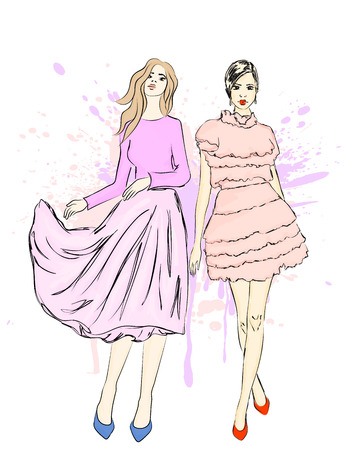 Young girls. Beauty and fashion. Vector illustration.
