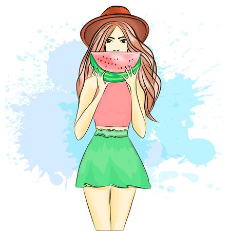 Beautiful girl on the beach. Summer rest. Vector illustration.