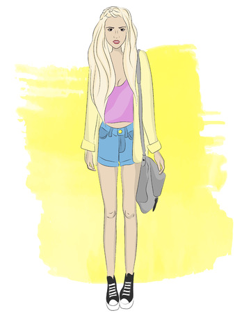 Young girl, street style. Beauty and fashion. Vector illustration.