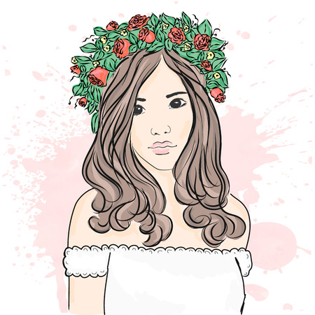 Portrait of a beautiful girl. Flower wreath on the head. Fashion & Style. Vector illustration.