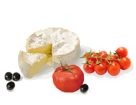 Still life. Camembert, ripe tomatoes and olives. Vector illustration. Illustration