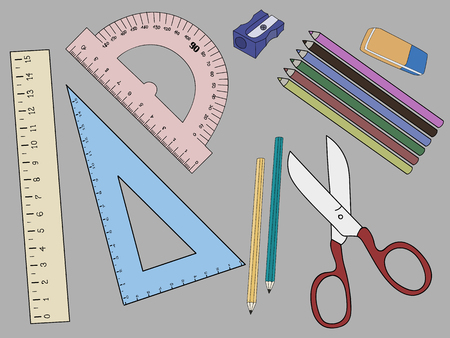Vector illustration of Back to School on gray background.