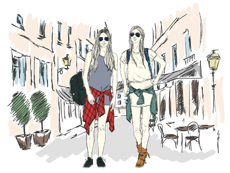 Fashion girl in the big city on the of architecture. Hand drawn illustration.