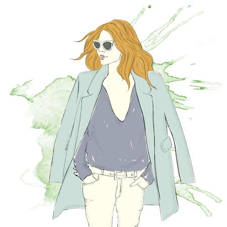 Fashionable girl icon.