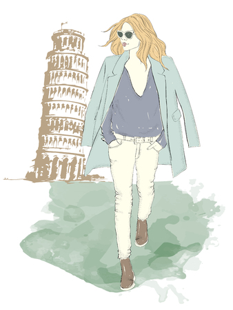 Fashionable girl in the big city icon. Illustration