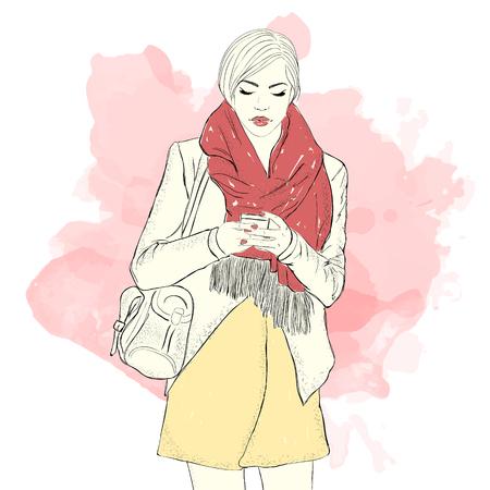 Fashion girl. Sketch. Hand drawn vector illustration.