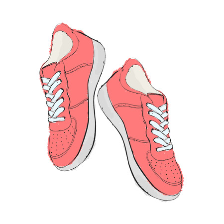 Sneakers. Hand draw shoes. Vector illustration. Illustration