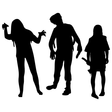 Halloween party. Silhouettes of zombies. Halloween poster. Vector illustration. Иллюстрация