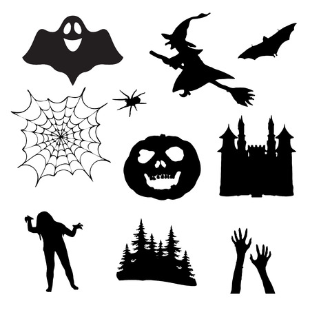 Halloween icons. Set of silhouettes for Halloween. Vector illustration on white background.
