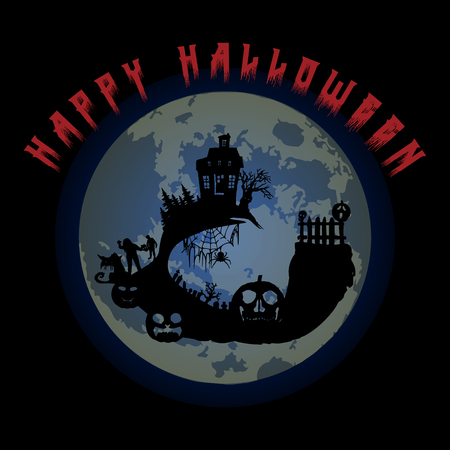 Halloween party. Pumpkin, castle, trees, bats and full moon. Halloween poster. Vector illustration. Иллюстрация