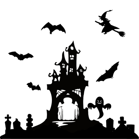 Halloween party. Castle, bats and cemetery. Halloween poster. Vector illustration.