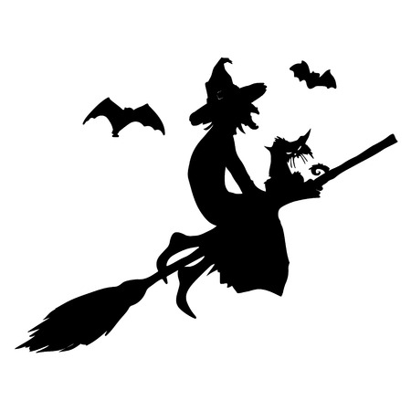 Halloween party.Witch with a cat on a broom and bats. Halloween poster. Vector illustration.