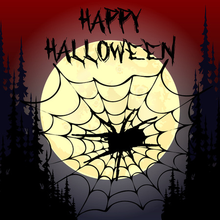 Halloween party. Pumpkin,  trees, bats and full moon. Halloween poster. Vector illustration.