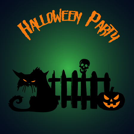 Halloween party. Pumpkin and zombie cat under the fence.  Halloween poster. Vector illustration. Иллюстрация