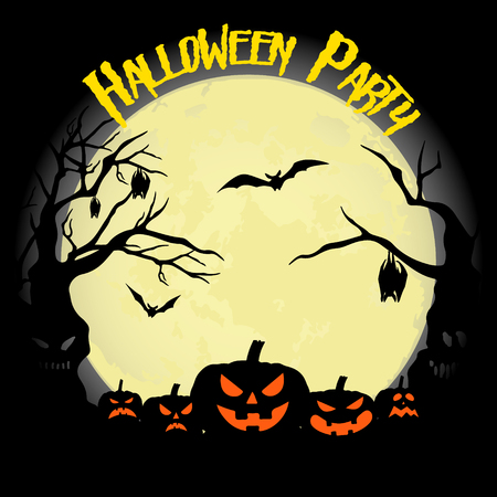 Halloween party. Pumpkin, bats and full moon. Halloween poster. Vector illustration.