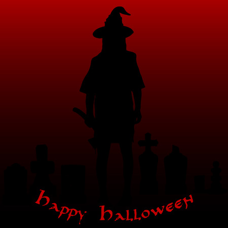 Halloween party. Zombies with an ax in the cemetery. Halloween poster. Vector illustration.
