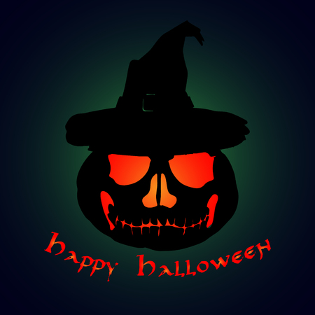 Halloween party. Pumpkin in a hat. Halloween poster. Vector illustration. Иллюстрация