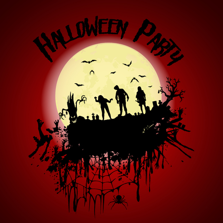 Halloween party.Zombie, cemetery, creepy trees and a full moon. Halloween poster. Vector illustration. Иллюстрация