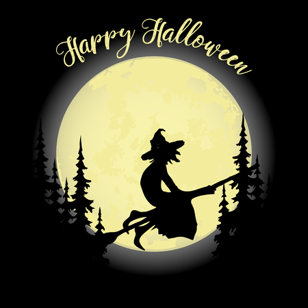 Halloween party. Witch on a broom, forest and full moon. Halloween poster. Vector illustration.