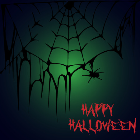 Halloween party. A spider on a web. Halloween poster. Vector illustration.