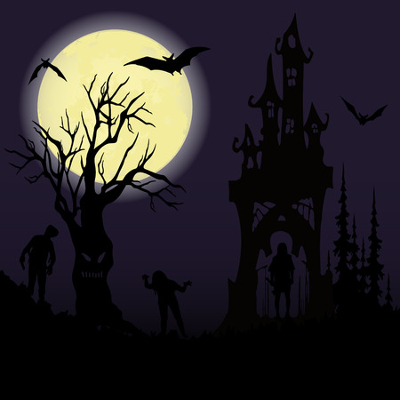 Halloween party. Castle, creepy tree and a full moon. Halloween poster. Vector illustration.