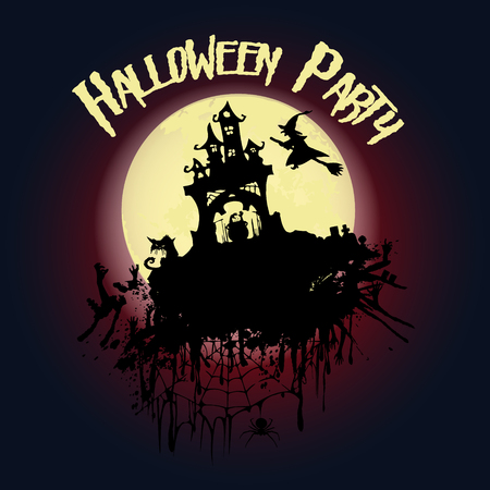 Halloween party. Castle, a witch on a broomstick, creepy trees and a full moon. Halloween poster. Vector illustration.
