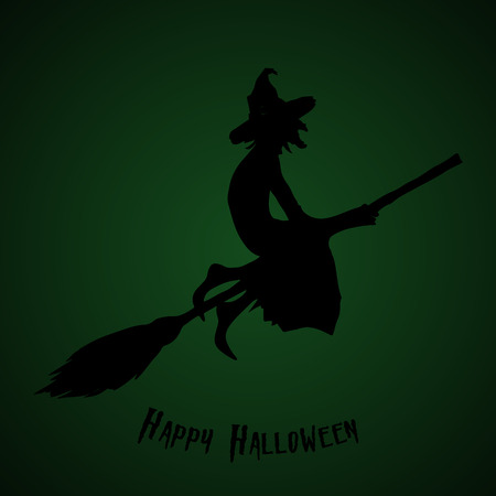 Halloween party. A witch on a broomstick.  Halloween poster. Vector illustration. Иллюстрация