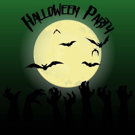 Halloween party. The hands of zombies, bats and the full moon. Halloween poster. Vector illustration. Иллюстрация
