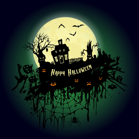 Halloween party. Old house, creepy trees and a full moon. Halloween poster. Vector illustration. Иллюстрация