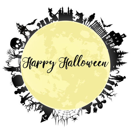 Set of silhouettes for Halloween. Halloween party. Greeting card.  Halloween poster.  Vector illustration on white background. Иллюстрация