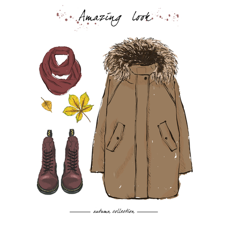 A set of autumn outfit with accessories: brown parka jacket, claret boots on laces, a warm scarf and autumn leaves. Hand drawn vector illustration on a white background.