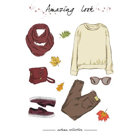 Een set herfstoutfits met accessoires: gele trui, stijlvolle jeans, gehaakte sjaal, sneakers, zonnebril, tas, vallende bladeren. Hand getrokken vectorillustratie op een witte achtergrond.
