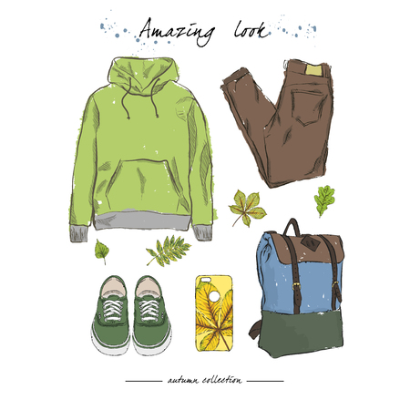 A set of autumn outfit  with accessories:hoodies, stylish jeans, sneakers, city backpack, phone case with autumn print, falling leaves. Hand drawn vector illustration on a white background. Illustration