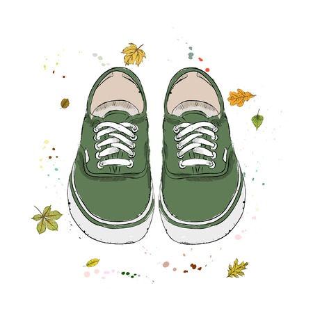 Green modern sneakers. Shoes on the background of autumn leaves and drops of watercolor. Hand drawn vector illustration on a white background.