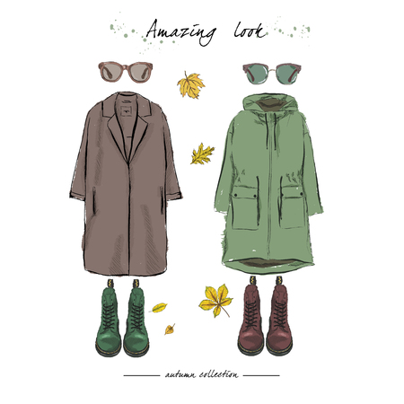 A set of autumn outfit with accessories: parka, boots on laces, sunglasses, falling leaves. Hand drawn vector illustration on a white background.