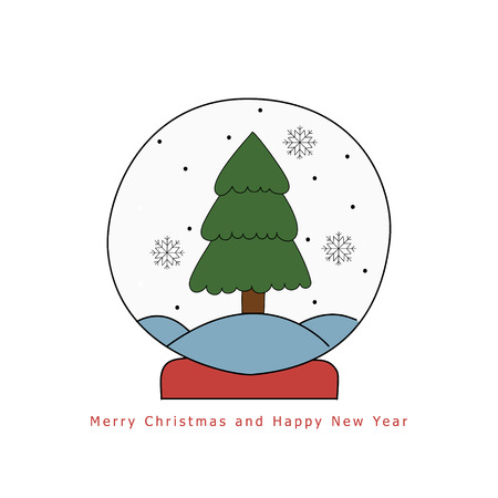 Christmas snow globe with fir tree Illustration