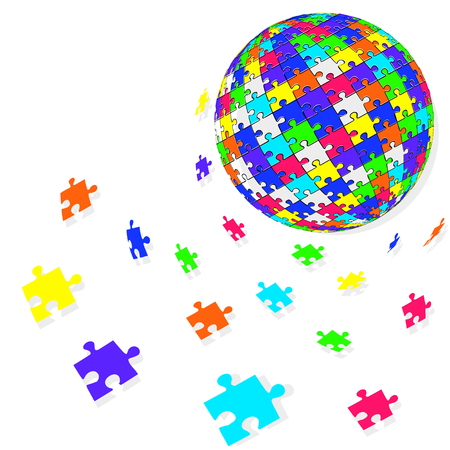 3d puzzle globe design.  Colorful shiny puzzle vector illustration in Eps 10. Иллюстрация