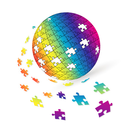 3d puzzle globe design.  Colorful shiny puzzle vector illustration in Eps 10. Ilustrace