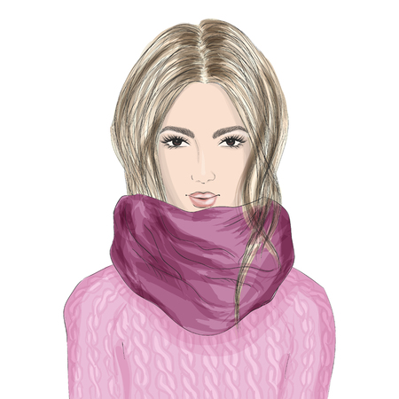 Portrait of beautiful young woman in knitted sweater and clip scarf. Hand drawn Fashion illustration. Иллюстрация