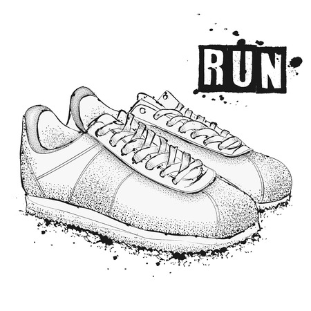 The image of sports sneakers on a white background. Lets go! Run! Hand drawn vector illustration.