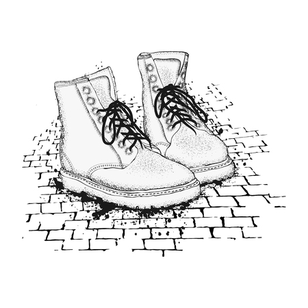 The image of the lace-up shoes on granite paving stones. Lets go. Hand drawn vector illustration.