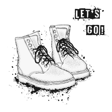 The image of the lace-up shoes on white background. Lets go. Hand drawn vector illustration.