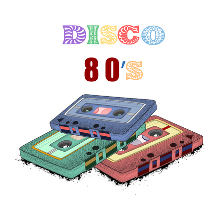 Old-fashioned tape audio cassette, symbol of retro music. Analog media for recording and listening to stereo music. 80s party,  pop music party 1990, vintage night. Easy editable poster design.  Иллюстрация