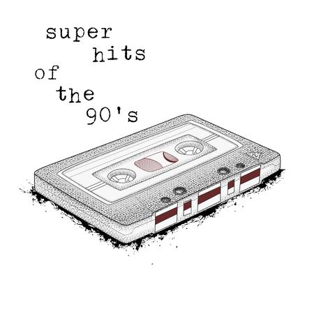 Audio cassette, symbol of retro music. Super hits of the 90s. 80s party,  pop music party 1990, vintage night. Easy editable poster design.