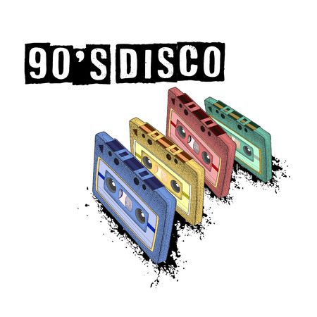 Old-fashioned tape audio cassette, symbol of retro music. Analog media for recording and listening to stereo music. 80s party,  pop music party 1990, vintage night. Easy editable poster design.  Ilustrace