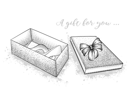 Gift box with a bow in the middle of which are shoes. St. Valentines Day. A festive gift. Hand drawn vector illustration. Иллюстрация