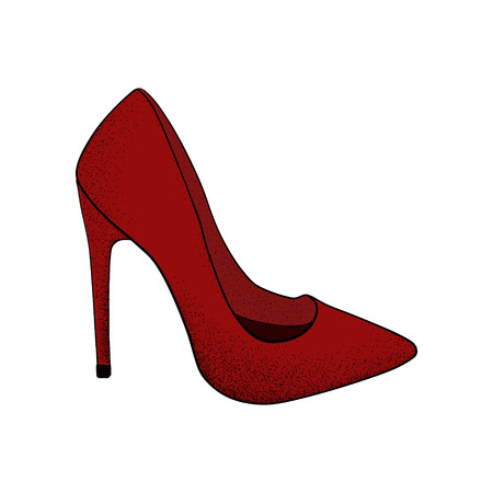 The image of the modern stylish shoes of red color.  Hand drawn vector illustration. Иллюстрация