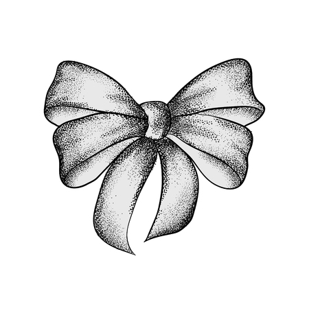 Decorative realistic vintage bow isolated on white background. A bow for a gift box. Hand drawn vector illustration. Иллюстрация