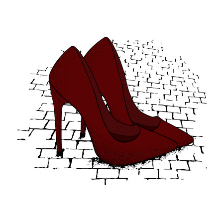 The image of the modern stylish shoes of red color on granite paving stones. Hand drawn vector illustration.