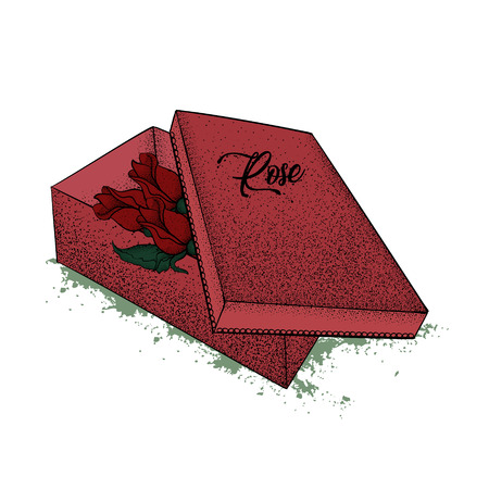 Red gift box, in the middle of which there are roses. St. Valentines Day. Birthday. A festive gift. Hand drawn vector illustration.